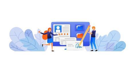människor godkänner ny ansökan om registrering av anställda. underskrift för ett nytt avtal med en bra fem stjärnor. vektor illustration koncept för målsida, webb, ui, banner, flygblad, affisch, mall