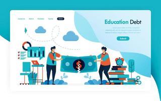 Zielseite für Studiengebühren, Bildungsschulden, Stipendienkredite, Geldriss, Budget für Lernen und Universität, finanzielle Spende und Wohltätigkeitsorganisation für Bildung. Vektordesign für Flyer Poster Mobile