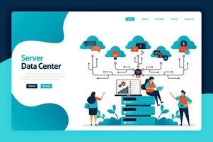Design der Zielseite des Server-Rechenzentrums. Datenspeicherungs- und Analysedienste in Datenbank-, Computerunterstützungs- und Big-Data-Verwaltungsdiensten. Vektorillustration für Plakat, Website, Flyer, mobile App vektor