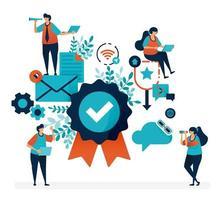 Garantie-Badge und Kundenzufriedenheitsgarantie. Qualitätsprüfung und Bestätigung. einfache Häkchensymbolvektorillustration für Landing Page, Web, Banner, Vorlage, mobile Apps, Flyer, Poster
