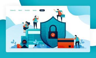 Zielseite für finanzielle Sicherheit, Bankenschutz für Investitionen, Kredite, Kredite, Schulden, Ersparnisse. Kundendatenschutz und Datenschutz, bezahlen, kaufen, kaufen. Vektor-Design Flyer Poster mobile Apps Anzeigen vektor