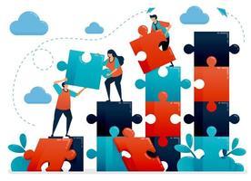 lagarbete och samarbete genom att lösa pussel. metaforer förstår affärsdiagram. samarbeta för företaget. utmaningar och problem. vektorillustration, grafisk design, kort, banner, broschyr, flygblad