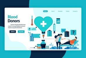 Vektor flache Illustration Vorlage von Blutspende und Wohltätigkeit. Der 14. Juni ist der Tag der Blutspender, das Herz mit dem roten Kreuz und das Bewusstsein für medizinische Untersuchungen. für Banner, Landing Page, Web, Website, Mobile
