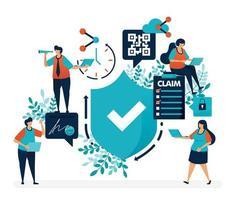 Überprüfen Sie den Sicherheitsschutz und die Sicherheitsqualitätsgarantien. Umfrage zur Einreichung von Versicherungsansprüchen. einfache Häkchensymbolvektorillustration für Landing Page, Web, Banner, mobile Apps, Flyer, Poster, UI vektor