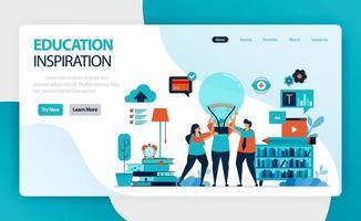 Landingpage für Bildungsideen und Inspiration. Leute halten Glühbirne. Führung und Motivation lernen. Brainstorming in Lehre und Innovation. Vektordesign für Visitenkarten-Homepage-Website vektor