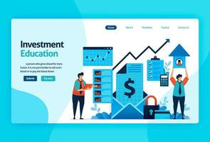 Landing Page Vector Design für Investment Education. Kapitalrendite mit Planungs-, Aktien- und Investmentfonds, festverzinslichen Wertpapieren, Geldmarkt. für Banner, Illustration, Web, Website, mobile Apps