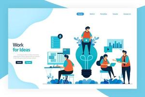målsida för arbete för idé. arbeta och diskutera för att förbättra företagets resultat, tjänster, ekonomisk vinst. stor idé för problemlösning och hantering av risker. designad för webbplats, mobilappar