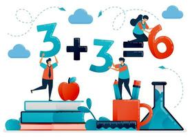 Bildung für Kinder. Mathematikstunde zum Zählen und Zahlen. Kinder lernen in der Schule. Vorschulkindergarten. flache Zeichenvektorillustration für Landing Page, Web, Banner, mobile Apps, Poster vektor