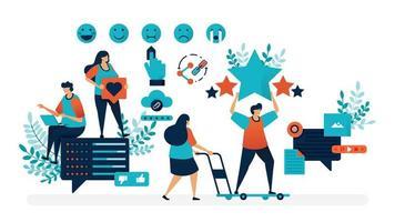 Bewertung der Benutzerzufriedenheit. Füllen Sie Meinungen mit Emoticons und geben Sie Star-Feedback, teilen Sie, wie Kommentare. flache Vektorillustration für Landingpage, Web, Website, Banner, mobile Apps, Flyer, Poster, UI vektor