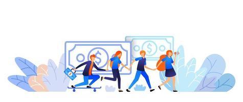människor går i händer och hänvisar en vän för att få pengar. Internet marknadsföring remiss program verksamhet. vektor illustration koncept för, målsida, webb, ui, banner, flygblad, affisch, mall, bakgrund, ui