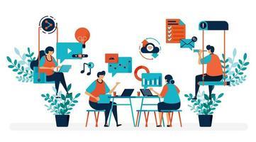 Brainstorming zur Lösung des Problems. Startup-Büro mit Schaukel. moderner Arbeitsplatz oder Coworking Space. spielen und arbeiten. flache Vektorillustration für Landingpage, Web, Website, Banner, Handy, Flyer, Poster