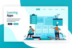 illustration av målsida för inlärningsappar. utbildningsprocess för att lära sig kunskap, färdigheter, värderingar, övertygelser och vanor. digital teknik i undervisning, utbildning, berättande, diskussion. vektor