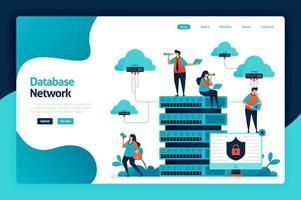 databasnätverk målsidesdesign. datanätverk från moln, server och hosting till datacenter. dataskydd och säkerhetsteknik. vektorillustration för affisch, webbplats, flygblad, mobilapp vektor