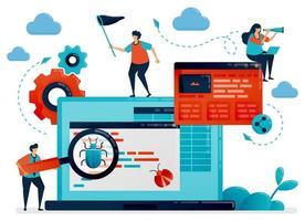 applikationsutvecklingsprocess för testning och felsökning. antivirusprogram för att fånga buggar. felsökning, programmering och kodning för att skapa appar. programmerare som bygger webbplatser. vektor illustration