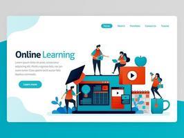 vektorillustration för online-lärande målsida. distansutbildning pedagogiska effektivitetsidéer. redovisning lärande plattform video tutorials. hemsidan rubrik webbsida mall app vektor