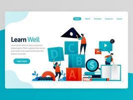 Vektor-Illustration für gut lernen Landing Page. gut lernen, Teamwork und Führung trainieren, lernen und spielen. Intelligenzspiel zur Studentennummerierung. Homepage-Header Webseitenvorlagen-Apps