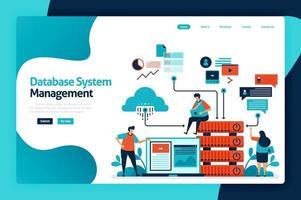 Landingpage-Design für die Verwaltung des Datenbanksystems. Verwalten, steuern und verwalten Sie den Datenzugriff auf Datenbanken, Cloud-Speichernetzwerke, Diagramme und Grafiken. Vektorillustration für Plakat, Website, Flyer, mobile App vektor
