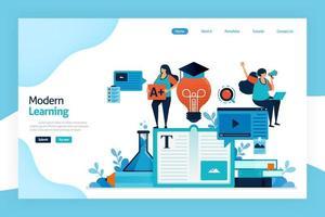 Landingpage des modernen Lernens. Bildungsprozess zum Erwerb von Ideen, zur Änderung von Wissen, Verhalten, Fähigkeiten, Werten, Alphabetisierung und Vorlieben mit Technologie. Entwickelt für Website, mobile Apps, Poster vektor