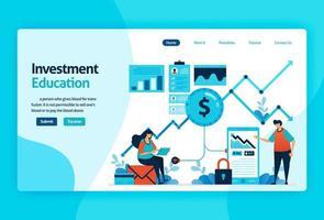 Landing Page Vector Design für Investment Education. Börse mit Strategie, Analyse, Planung. Kapitalmarktwachstum, Kapitalrendite. für Banner, Illustration, Web, Website, mobile Apps