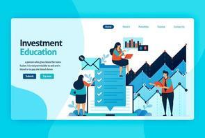 målsidesvektordesign för investeringsutbildning. aktiemarknad med strategi, analys, planering. kapitalmarknadstillväxt, avkastning på investeringar. för banner, illustration, webb, webbplats, mobilappar vektor