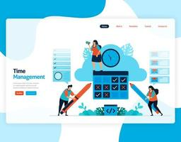 Zielseitenvektor des Zeitmanagements und Planens von Jobs projizieren, planen und verwalten Sie die Arbeit pünktlich, Zeitmangel im Geschäft, arbeiten Sie mit der Zeit. Illustration für Website, mobile Apps, Homepage, Flyer, Karte vektor