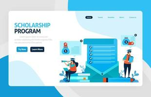 Landingpage für Stipendienausbildungsprogramm, offene Spenden und Finanzierung für herausragende Studenten, zinsgünstige Darlehen für Bildungseinrichtungen, Studiengebühren. für Banner, Web, Website, mobile Apps
