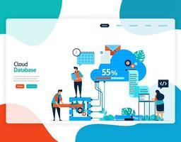 Homepage Landingpage Vektor flache Illustration der Cloud-Datenbank. Reparatur und Wartung der Cloud-Speichertechnologie. Sicherheitssystem in der digitalen Sicherungsdatenbank. Web, Flyer, Website, mobile Apps