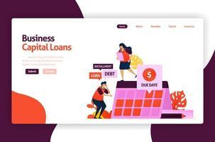 vektorillustration av riskkapitallån för utveckling av investeringar och investeringar. låg räntekredit för unga företagare och nystartade företag. för webbplats, målsida, banner, mobilappar, flygblad vektor