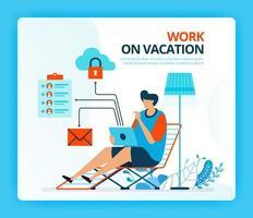 Vektorillustration für Arbeit im Urlaub und Überstundenjob. menschliche Vektor-Comicfiguren. Design für Zielseiten, Web, Website, Webseite, mobile Apps, Banner, Flyer, Broschüre, Poster vektor