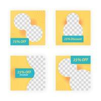 sociala medier postmallar för rabatter, försäljning och erbjudanden. marknadsföring av online-innehåll och marknadsföringselement. fyrkantig fotomall för onlineannonser, tryckblad, broschyrer, kort, onlineannonser vektor