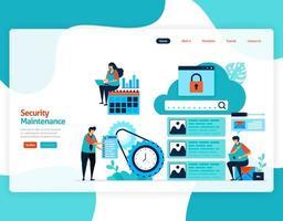 hemsida målsida vektor platt illustration av säkerhetsunderhåll. reparation och underhåll av molnlagringsteknik. säkerhetssystem i digital backup-databas. webb, flygblad, webbplats, mobilappar