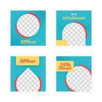 Social Media Post Vorlagen für Rabatte, Verkäufe und Angebote. Werbung für Online-Medieninhalte und Marketingelement. Quadratische Fotovorlage für Online-Anzeigen, Print-Flyer, Broschüren, Karten, Online-Anzeigen