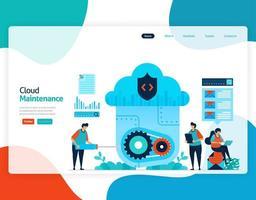 Homepage Landing Page Vektor flache Illustration der Cloud-Wartung. Reparatur und Wartung der Cloud-Speichertechnologie. Sicherheitssystem in der digitalen Sicherungsdatenbank. Web, Flyer, Website, mobile Apps