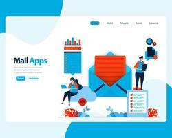 Vektor-Landingpage zum Senden, Empfangen und Verwalten von E-Mails. Arbeitsplanung mit digitalen Geschäfts-E-Mail-Diensten. Illustration für Landing Page, Vorlage, Benutzeroberfläche, Web, mobile Apps, Poster, Flyer, Anzeigen vektor
