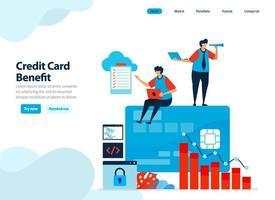 Website-Design der Vorteile der Verwendung von Kreditkarte. Holen Sie sich ein kurzfristiges Darlehen mit milden Zinsen für Ausgaben. flache Illustration für Zielseitenvorlage, Benutzeroberfläche, Website, mobile App, Flyer, Broschüre, Anzeigen vektor