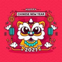 kinesiskt nyårshälsning med söt dansande lejon vektor