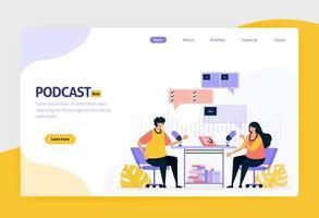 Landing Page Vector Flat Design Illustration von Podcast-Rundfunk. Internet-Technologie, modernes öffentliches Interview und Online-Berichterstattung mit Audio. für Websites, mobile Apps, Banner, Flyer, Broschüre