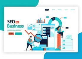 Vektor-Illustrations-Website zur Marketingoptimierung mit SEO. Online-Werbung mit Schlüsselwörtern in Suchmaschinen für Zielmarkt, Werbedienste, soziale Medien. Landing Page, Banner, mobile Apps vektor