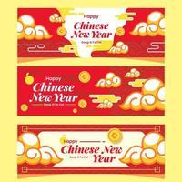 lyckligt kinesiskt hälsningsbanner med molnprydnad