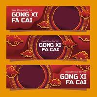 kinesiskt nyår gong xi fa cai banner vektor