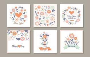 alla hjärtans dag söt blomma gratulationskort vektor