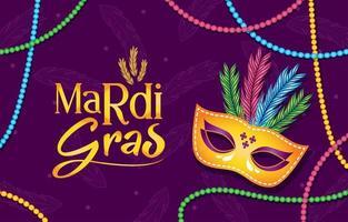 mardi gras mask och pärlor