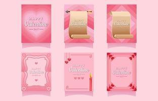 rosa Valentinstag Abendessen und Datumskarte vektor