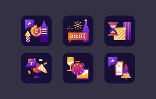 lila Retro Neujahr Countdown vektor