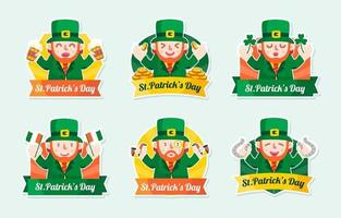 st. patrick's day labels collection vektor
