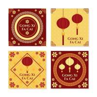 gong xi fa cai-kort med lykta och blomma prydnadskomposition vektor