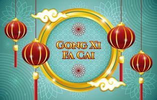 gong xi fa cai med lykta och blommor prydnad koncept vektor