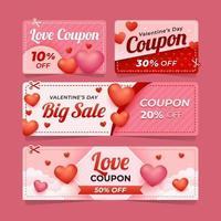 Valentinstag Rabatt-Gutschein vektor