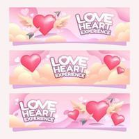 Liebe Herz Erfahrung Valentinstag Banner vektor