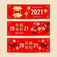 2021 kinesiskt nyårsbanner vektor